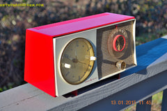 SOLD! - March 23, 2015 - CORVETTE RED AND WHITE Retro Jetsons Late 50s early 60s General Electric GE Tube AM Clock Radio Totally Restored! , Vintage Radio - General Electric, Retro Radio Farm  - 3