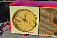 SOLD! - March 23, 2015 - CORVETTE RED AND WHITE Retro Jetsons Late 50s early 60s General Electric GE Tube AM Clock Radio Totally Restored! , Vintage Radio - General Electric, Retro Radio Farm  - 5