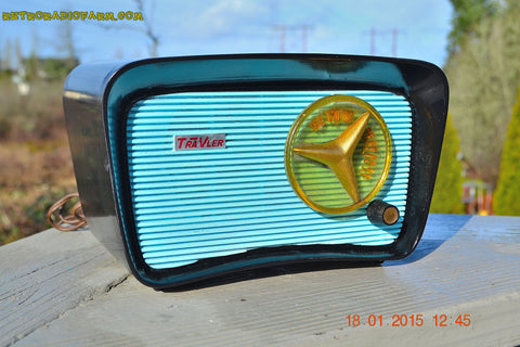 SOLD! - Jan 23, 2015 - SO JETSONS LOOKING Retro Vintage AQUA and BLACK Travler T-204 AM Tube Radio WORKS!