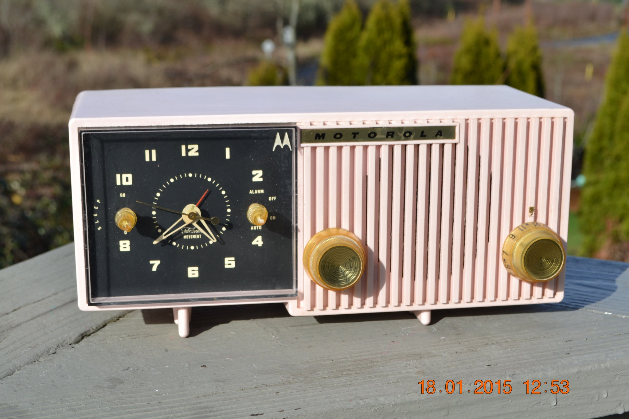 SOLD! - Jan 31, 2015 - LUSCIOUS PINK Retro Jetsons 1956 Motorola 57CF Tube AM Clock Radio WORKS! - [product_type} - Motorola - Retro Radio Farm