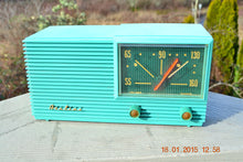 Load image into Gallery viewer, SOLD! - March 22, 2015 - MID CENTURY MARVEL Retro Jetsons Vintage Turquoise 1959 Airline DSE1625A AM Tube Radio Totally Restored! , Vintage Radio - Airline, Retro Radio Farm  - 4