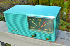 SOLD! - March 22, 2015 - MID CENTURY MARVEL Retro Jetsons Vintage Turquoise 1959 Airline DSE1625A AM Tube Radio Totally Restored! , Vintage Radio - Airline, Retro Radio Farm  - 3