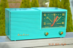 SOLD! - March 22, 2015 - MID CENTURY MARVEL Retro Jetsons Vintage Turquoise 1959 Airline DSE1625A AM Tube Radio Totally Restored! , Vintage Radio - Airline, Retro Radio Farm  - 2