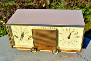 SOLD! - Mar 15, 2016 - BEIGE Pink Mid Century Retro Zenith Model G516L AM Clock Radio Totally Restored! , Vintage Radio - Zenith, Retro Radio Farm  - 1