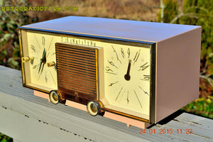 SOLD! - Mar 15, 2016 - BEIGE Pink Mid Century Retro Zenith Model G516L AM Clock Radio Totally Restored! , Vintage Radio - Zenith, Retro Radio Farm  - 2