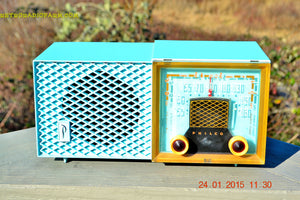 SOLD! - Feb 01, 2015 - DAPHNE BLUE Retro Vintage Jetsons 1953 Philco Model 53-950 Tube AM Clock Radio WORKS! - [product_type} - Philco - Retro Radio Farm