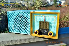 SOLD! - Feb 01, 2015 - DAPHNE BLUE Retro Vintage Jetsons 1953 Philco Model 53-950 Tube AM Clock Radio WORKS! , Vintage Radio - Philco, Retro Radio Farm  - 6