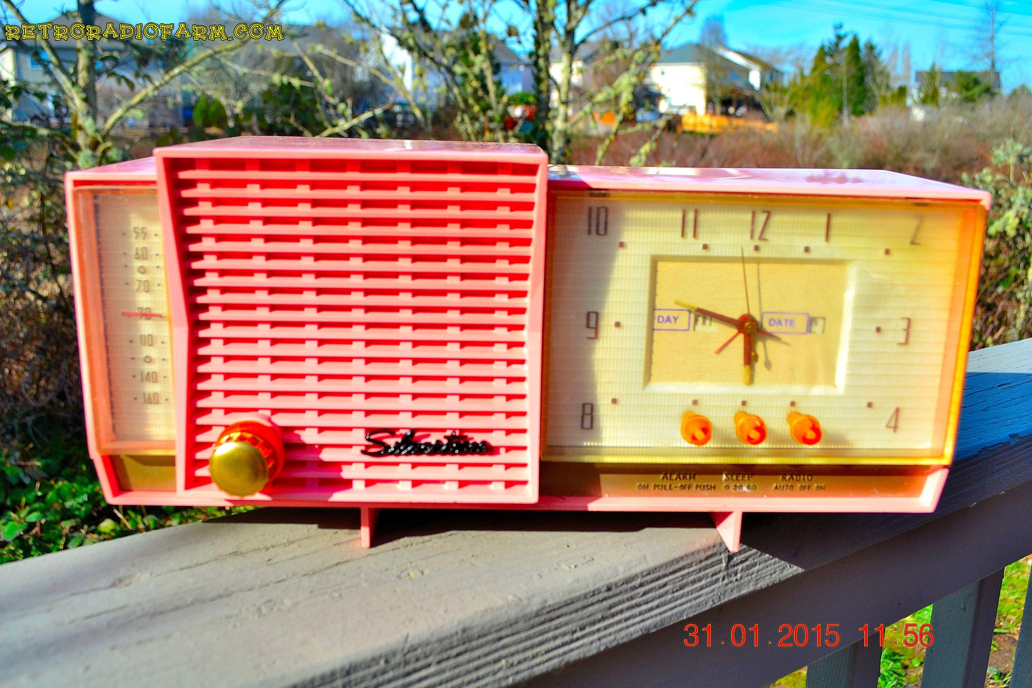 SOLD! - Sept 26, 2016 - BARBIE PINK Mid Century Retro Jetsons 1961 Silvertone Model 8027 AM Clock Radio Totally Restored! - [product_type} - Silvertone - Retro Radio Farm