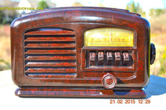 SOLD! - Feb 19, 2016 - ART DECO 1940 AIRLINE Model 04BR-513 AM Brown Swirly Marbled Bakelite Tube Radio Totally Restored! , Vintage Radio - Airline, Retro Radio Farm  - 2
