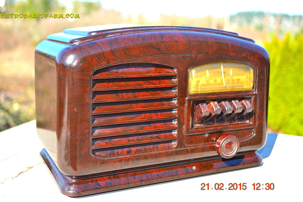 SOLD! - Feb 19, 2016 - ART DECO 1940 AIRLINE Model 04BR-513 AM Brown Swirly Marbled Bakelite Tube Radio Totally Restored! , Vintage Radio - Airline, Retro Radio Farm  - 1