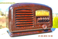 SOLD! - Feb 19, 2016 - ART DECO 1940 AIRLINE Model 04BR-513 AM Brown Swirly Marbled Bakelite Tube Radio Totally Restored! , Vintage Radio - Airline, Retro Radio Farm  - 7