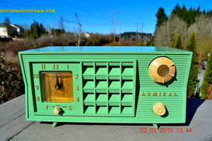 SOLD! - March 20, 2015 - PISTACHIO GREEN Retro Jetsons Mid Century Vintage 1955 Admiral 5R3 AM Tube Radio Totally Restored! - [product_type} - Admiral - Retro Radio Farm