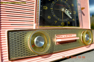 SOLD! - Aug 19, 2015 - POWDER PINK Retro Jetsons Vintage 1957 RCA Victor Model 1-RD-63 AM Tube Clock Radio Totally Restored! - [product_type} - RCA Victor - Retro Radio Farm
