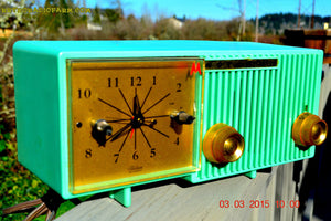 SOLD! - Sept 12, 2015 - BEAUTIFUL SEA GREEN Retro Jetsons 1956 Motorola 56CS Tube AM Clock Radio Totally Restored! - [product_type} - Motorola - Retro Radio Farm