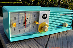 SOLD! - Aug 19 - 2015 - WOWIE! - Aqua Blue Green Retro Jetsons 1956 Motorola 57CD Tube AM Clock Radio NOS New Old Stock Cabinet Totally Restored! , Vintage Radio - Motorola, Retro Radio Farm  - 2