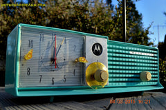 SOLD! - Aug 19 - 2015 - WOWIE! - Aqua Blue Green Retro Jetsons 1956 Motorola 57CD Tube AM Clock Radio NOS New Old Stock Cabinet Totally Restored! , Vintage Radio - Motorola, Retro Radio Farm  - 3