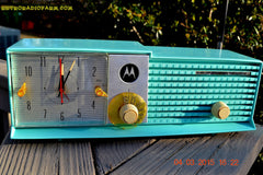 SOLD! - Aug 19 - 2015 - WOWIE! - Aqua Blue Green Retro Jetsons 1956 Motorola 57CD Tube AM Clock Radio NOS New Old Stock Cabinet Totally Restored! , Vintage Radio - Motorola, Retro Radio Farm  - 4