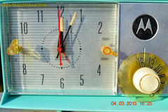SOLD! - Aug 19 - 2015 - WOWIE! - Aqua Blue Green Retro Jetsons 1956 Motorola 57CD Tube AM Clock Radio NOS New Old Stock Cabinet Totally Restored! , Vintage Radio - Motorola, Retro Radio Farm  - 6