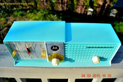SOLD! - Aug 19 - 2015 - WOWIE! - Aqua Blue Green Retro Jetsons 1956 Motorola 57CD Tube AM Clock Radio NOS New Old Stock Cabinet Totally Restored! , Vintage Radio - Motorola, Retro Radio Farm  - 5