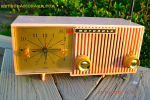 SOLD! - March, 29, 2015 - BLUETOOTH MP3 READY - PRETTY IN PINK Retro Jetsons 1956 Motorola 57CF Tube AM Clock Radio Totally Restored! - [product_type} - Motorola - Retro Radio Farm