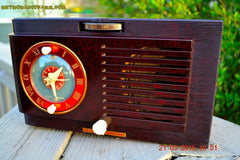 SOLD! - April 19, 2015 - BLUETOOTH MP3 READY - Art Deco 1952 General Electric Model 66 AM Brown Bakelite Tube Clock Radio Totally Restored! , Vintage Radio - General Electric, Retro Radio Farm  - 5