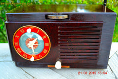 SOLD! - April 19, 2015 - BLUETOOTH MP3 READY - Art Deco 1952 General Electric Model 66 AM Brown Bakelite Tube Clock Radio Totally Restored! , Vintage Radio - General Electric, Retro Radio Farm  - 7