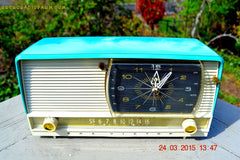 SOLD! - Sept 12, 2015 - AQUA and White Retro Jetsons 1956 RCA Victor 9-C-7LE Tube AM Clock Radio Totally Restored! , Vintage Radio - RCA Victor, Retro Radio Farm  - 2