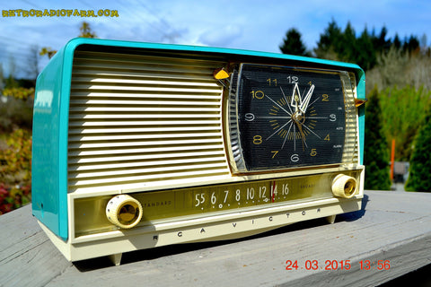 SOLD! - Sept 12, 2015 - AQUA and White Retro Jetsons 1956 RCA Victor 9-C-7LE Tube AM Clock Radio Totally Restored!