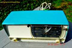 SOLD! - Sept 12, 2015 - AQUA and White Retro Jetsons 1956 RCA Victor 9-C-7LE Tube AM Clock Radio Totally Restored! , Vintage Radio - RCA Victor, Retro Radio Farm  - 6