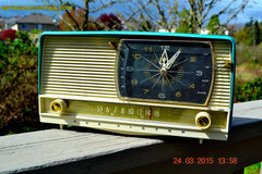 SOLD! - Sept 12, 2015 - AQUA and White Retro Jetsons 1956 RCA Victor 9-C-7LE Tube AM Clock Radio Totally Restored! , Vintage Radio - RCA Victor, Retro Radio Farm  - 3