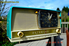 SOLD! - Sept 12, 2015 - AQUA and White Retro Jetsons 1956 RCA Victor 9-C-7LE Tube AM Clock Radio Totally Restored! , Vintage Radio - RCA Victor, Retro Radio Farm  - 5