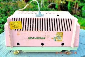 SOLD! - Sept 26, 2016 - COTTON Candy Pink Mid Century Retro Jetsons Vintage 1959 General Electric Model T-132B Musaphonic Tube Radio Totally Restored! - [product_type} - General Electric - Retro Radio Farm