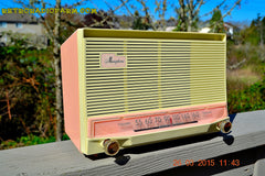 COTTON Candy Pink Mid Century Retro Jetsons Vintage 1959 General Electric Model T-132B Musaphonic Tube Radio Totally Restored! , Vintage Radio - General Electric, Retro Radio Farm  - 5