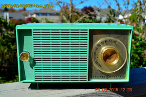 SOLD! - Apr 14, 2016 - BLUETOOTH MP3 READY SEA GREEN Mid Century Vintage 1959 General Electric Model T-129C Tube Radio - [product_type} - General Electric - Retro Radio Farm