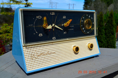 SOLD! - Dec 9, 2015 - CORNFLOWER Blue Retro Jetsons 1959 Westinghouse Model H711T5 Tube AM Clock Radio Totally Restored! - [product_type} - Westinghouse - Retro Radio Farm