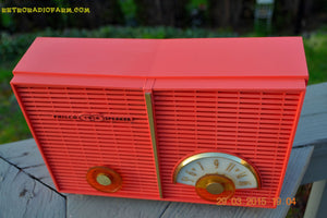 SOLD! - June 6, 2015 - BLUETOOTH MP3 READY - WACKY LOOKING Salmon Pink Retro Jetsons Vintage 1957 Philco G826-124 AM Tube Radio WORKS! , Vintage Radio - Philco, Retro Radio Farm  - 9
