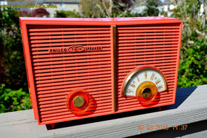 SOLD! - June 6, 2015 - BLUETOOTH MP3 READY - WACKY LOOKING Salmon Pink Retro Jetsons Vintage 1957 Philco G826-124 AM Tube Radio WORKS! - [product_type} - Philco - Retro Radio Farm