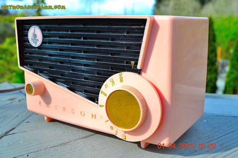 SOLD! - July 19, 2016 - BLUETOOTH MP3 READY - AWESOME Pink And Black Retro Vintage 1957 Emerson 851 AM Tube Radio Totally Restored!