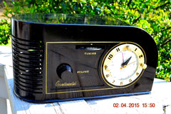 SOLD! - June 4, 2015 - CASABLANCA Black Golden Age Art Deco 1948 Continental Model 1600 AM Tube Clock Radio Totally Restored! , Vintage Radio - Continental, Retro Radio Farm  - 5