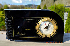SOLD! - June 4, 2015 - CASABLANCA Black Golden Age Art Deco 1948 Continental Model 1600 AM Tube Clock Radio Totally Restored! , Vintage Radio - Continental, Retro Radio Farm  - 6