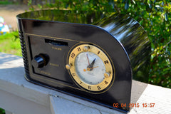 SOLD! - June 4, 2015 - CASABLANCA Black Golden Age Art Deco 1948 Continental Model 1600 AM Tube Clock Radio Totally Restored! , Vintage Radio - Continental, Retro Radio Farm  - 4