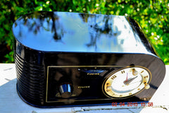 SOLD! - June 4, 2015 - CASABLANCA Black Golden Age Art Deco 1948 Continental Model 1600 AM Tube Clock Radio Totally Restored! , Vintage Radio - Continental, Retro Radio Farm  - 2