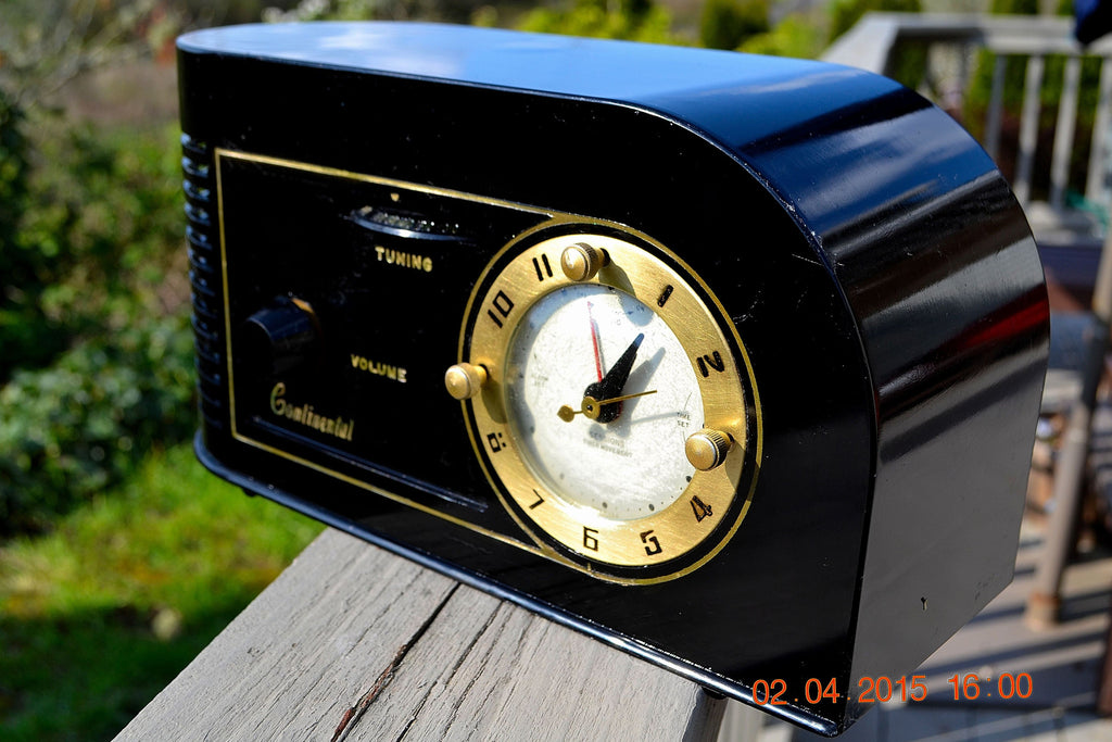 SOLD! - June 4, 2015 - CASABLANCA Black Golden Age Art Deco 1948 Continental Model 1600 AM Tube Clock Radio Totally Restored! , Vintage Radio - Continental, Retro Radio Farm  - 1