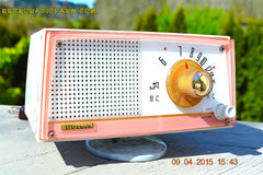 SOLD! - April 21, 2015 - NEW OLD STOCK PINK And White Marbelized Jetson Style Radio Lafayette Model FS-233 AM Tube Radio Unbelievable! , Vintage Radio - Lafayette, Retro Radio Farm  - 6