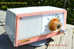 SOLD! - April 21, 2015 - NEW OLD STOCK PINK And White Marbelized Jetson Style Radio Lafayette Model FS-233 AM Tube Radio Unbelievable! - [product_type} - Lafayette - Retro Radio Farm