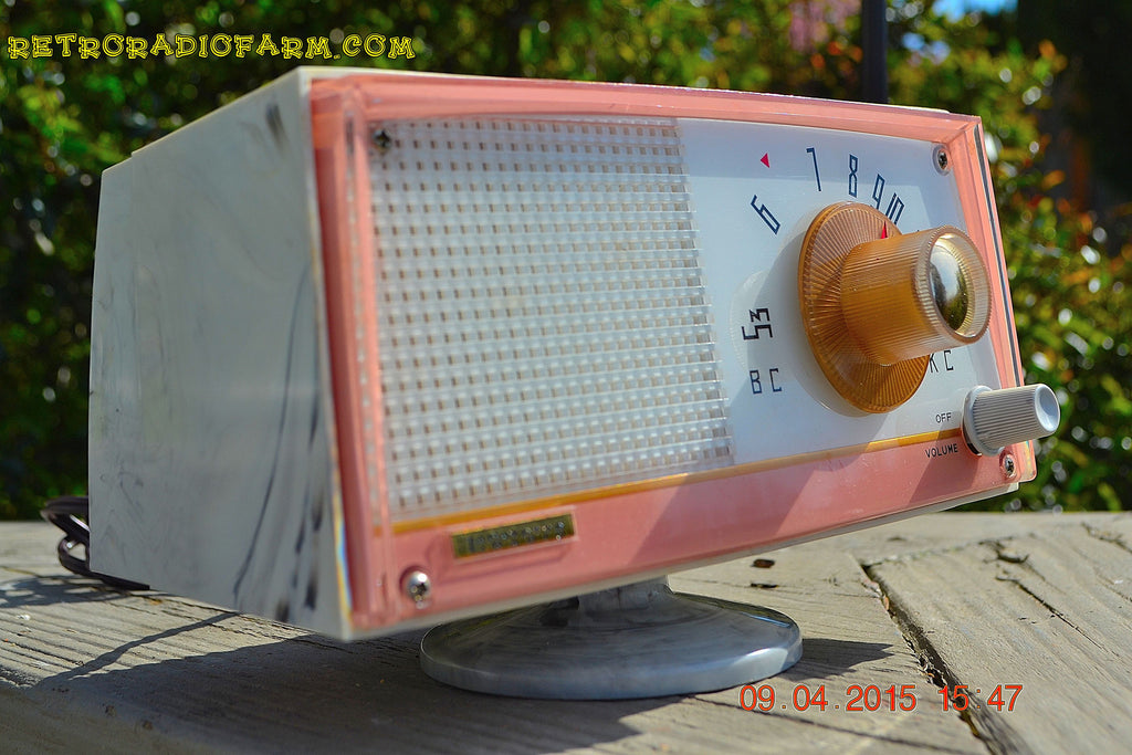 SOLD! - April 21, 2015 - NEW OLD STOCK PINK And White Marbelized Jetson Style Radio Lafayette Model FS-233 AM Tube Radio Unbelievable! , Vintage Radio - Lafayette, Retro Radio Farm  - 1