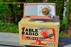 SOLD! - April 21, 2015 - NEW OLD STOCK PINK And White Marbelized Jetson Style Radio Lafayette Model FS-233 AM Tube Radio Unbelievable! , Vintage Radio - Lafayette, Retro Radio Farm  - 2