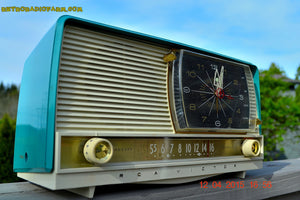 SOLD! - June 29, 2015 - BLUETOOTH MP3 READY - AQUA and White Retro Jetsons 1956 RCA Victor 9-C-7LE Tube AM Clock Radio Totally Restored! - [product_type} - RCA Victor - Retro Radio Farm