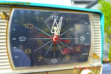 Load image into Gallery viewer, SOLD! - June 29, 2015 - BLUETOOTH MP3 READY - AQUA and White Retro Jetsons 1956 RCA Victor 9-C-7LE Tube AM Clock Radio Totally Restored! - [product_type} - RCA Victor - Retro Radio Farm
