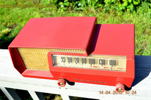 SOLD! - Apr 15, 2017 - MID CENTURY SPLIT LEVEL DREAM Red Retro Vintage 1953 Philco Model 53-563 AM Tube Radio Totally Restored! - [product_type} - Philco - Retro Radio Farm